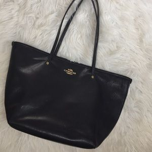 Coach navy blue pebbled faux tote